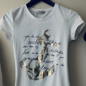 White T-shirt with gold wording